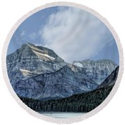 The Blue Mountains Of Glacier National Park Round Beach Towel