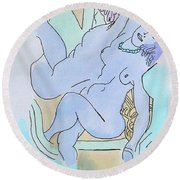The Blue Nude Round Beach Towel