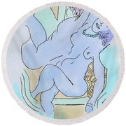 The Blue Nude Round Beach Towel