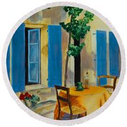 The Blue Shutters Round Beach Towel