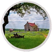 Round Beach Towel featuring the photograph The Bluebonnet House by Linda Unger