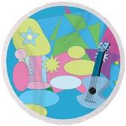 Round Beach Towel featuring the digital art The Blues by Eleni Mac Synodinos