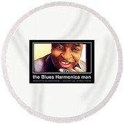 the Blues Harmonica man Round Beach Towel