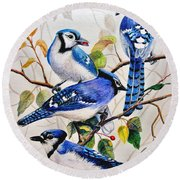 The Blues Round Beach Towel by Marilyn Smith