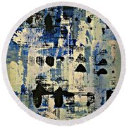 The Blues Abstract Round Beach Towel