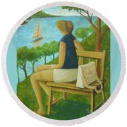 Round Beach Towel featuring the painting The Bluff by Glenn Quist