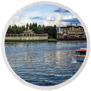The Boardwalk Gazebo Walt Disney World Mp Round Beach Towel
