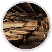 Round Beach Towel featuring the photograph The Boat House  by Scott Carruthers