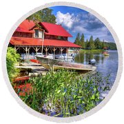 Round Beach Towel featuring the photograph The Boathouse At Covewood by David Patterson