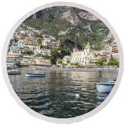 The Boats Of Positano  Round Beach Towel