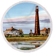 The Bolivar Lighthouse Round Beach Towel
