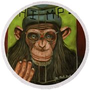 The Book Of Chimps Round Beach Towel by Leah Saulnier The Painting Maniac