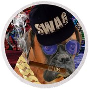 Round Beach Towel featuring the mixed media The Boss Boxer by Marvin Blaine