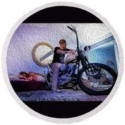 Round Beach Towel featuring the photograph The Boss- by JD Mims