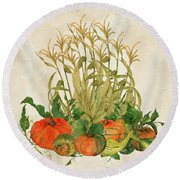 The Bountiful Harvest Round Beach Towel