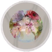 Round Beach Towel featuring the painting The Bouquet by Mary Wolf