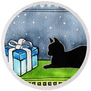 The Box Is Mine - Christmas Cat Round Beach Towel