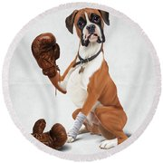 The Boxer Wordless Round Beach Towel
