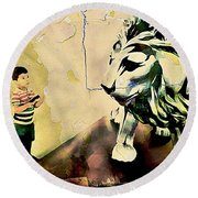 The Boy And The Lion Graffiti Creator,street-art Graffiti,street-art,graffiti Art Street,banksy Art, Round Beach Towel