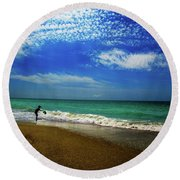 The Boy At The Beach  Round Beach Towel by John Harding