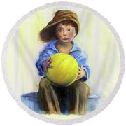 The Boy With The Ball Round Beach Towel