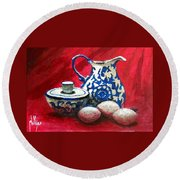 Round Beach Towel featuring the painting The Breakfast Still Life by Jim Phillips