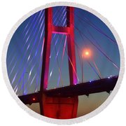 The Bridge And The Sunset Round Beach Towel