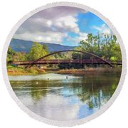 The Bridge At Vasona Lake Digital Art Round Beach Towel