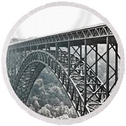 The Bridge B/w Round Beach Towel