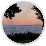 The Bridge From The Island Round Beach Towel