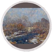 The Bridge  Garfield Park  By William J  Forsyth Round Beach Towel