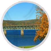 Round Beach Towel featuring the photograph The Bridge by Rick Morgan