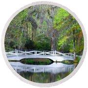 The Bridges In Magnolia Gardens Round Beach Towel