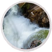 The Brink Of The Lower Falls Of The Yellowstone River Round Beach Towel