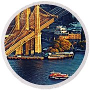 Round Beach Towel featuring the photograph The Brooklyn Bridge At Sunset   by Sarah Loft
