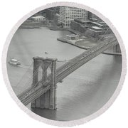 The Brooklyn Bridge From Above Round Beach Towel