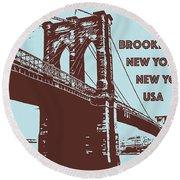 The Brooklyn Bridge, New York, Ny Round Beach Towel