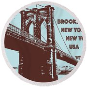 The Brooklyn Bridge, New York, Ny Round Beach Towel