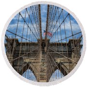 The Brooklyn Bridge Round Beach Towel