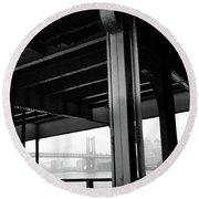 The Brooklyng Bridge And Manhattan Bridge From Fdr Drive Round Beach Towel