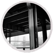 The Brooklyng Bridge And Manhattan Bridge From Fdr Drive Round Beach Towel