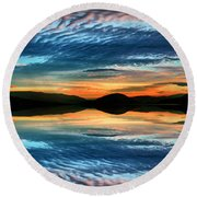 The Brush Strokes Of Evening Round Beach Towel