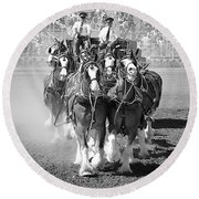 The Budweiser Clydesdales Round Beach Towel
