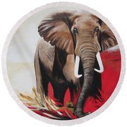 Blue Cat Productions            Big John The Bull Elephant  Round Beach Towel