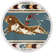 The Bull Of Knossos Round Beach Towel by Unknown