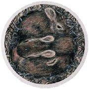 The Bunny Nest Round Beach Towel by Kathleen McDermott