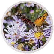 The Butterfly And Flowers Round Beach Towel by Steven Parker