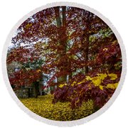 The Cabin In Autumn Round Beach Towel