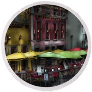 The Cafe At Night Round Beach Towel