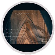 the Caged Bird Sings - Maya Angelou inspiring quote Round Beach Towel